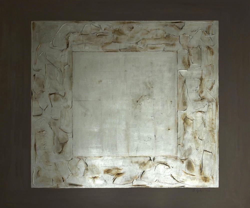 Quadrato in Chiaro 2013 – Acrilico e foglia d\'argento su tela 120 ...